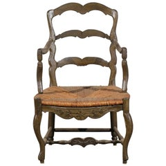18th Century Country French Armchair with Rush Seat