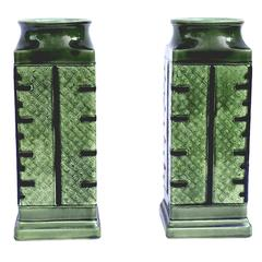 French Chinoiserie Pair of Green Chinese-Style Faience Vases, circa 1885