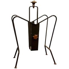 Jacques Adnet Magazine Rack in Brass and Iron