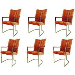 Set of Six Brass and Velvet Dining Chairs by Pierre Cardin