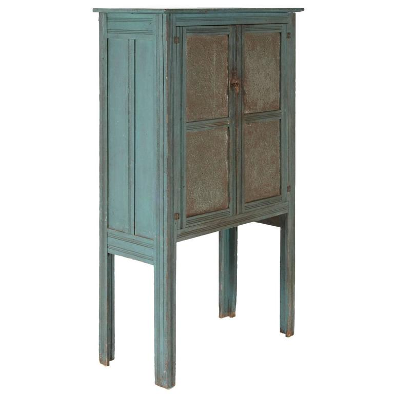 Narrow Blue Painted Pie Safe on Tall Legs, Probably Upstate NY or PA