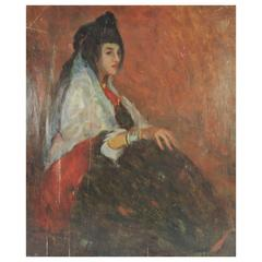 "Lucien Abrams ""Young Arab Girl"" Oil on Board"
