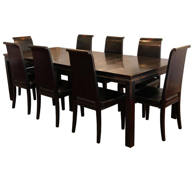 Asian Style Black Lacquered Elmwood Dining Table And Chairs For Sale