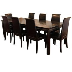 Asian Style Black Lacquered Elmwood Dining Table and Chairs
