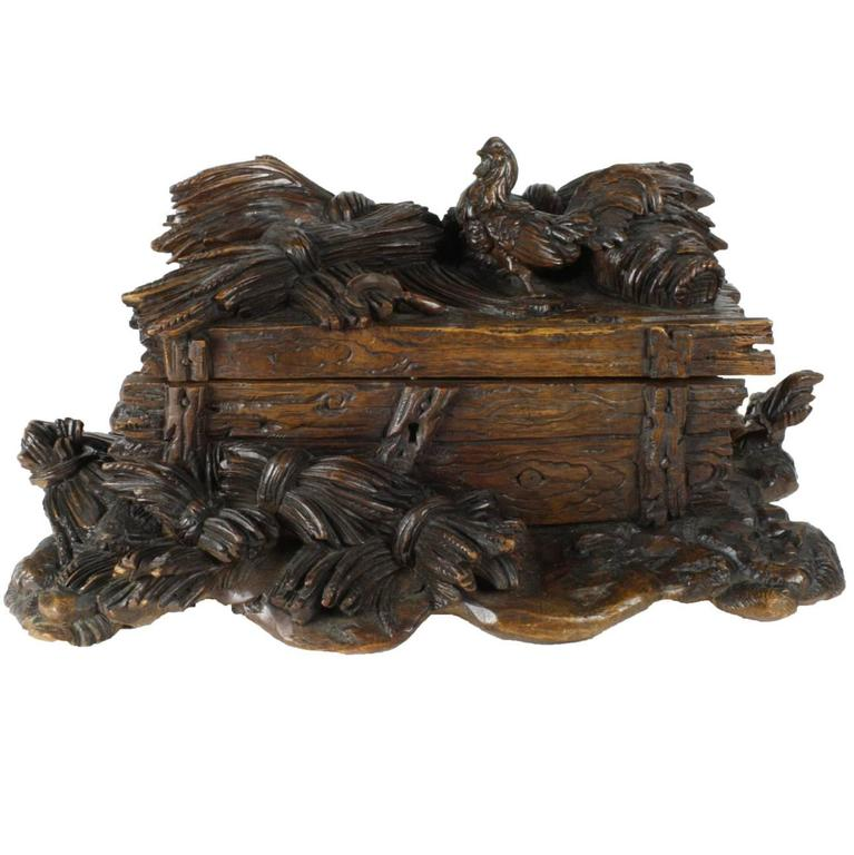 Linden Wood Black Forest Box with Carved Rooster, Sickle and Wheat, circa 1880