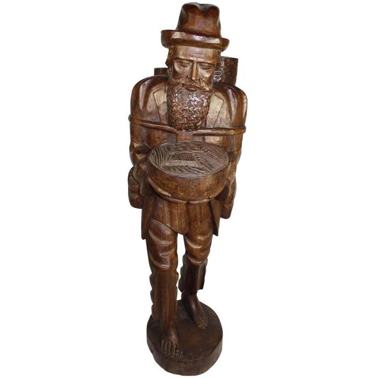 Tall teak wood asian folk art sculpture of elderly man for