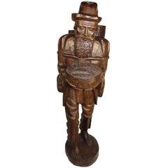 Tall Teak Wood Asian Folk Art Sculpture of Elderly Man