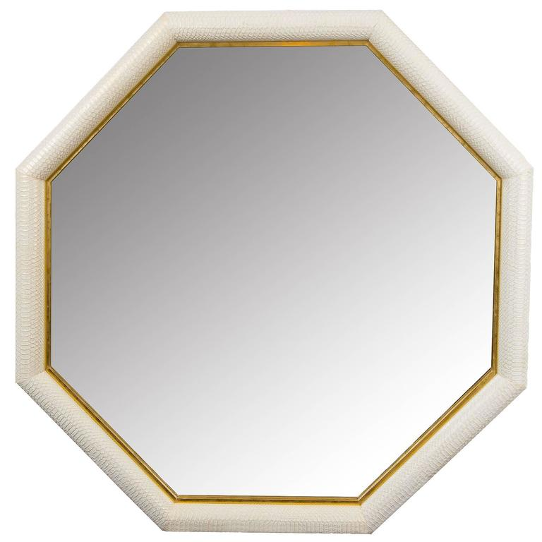 Contemporary Octagonal Embossed Python and Gold Leather Mirror by KLASP Home 1