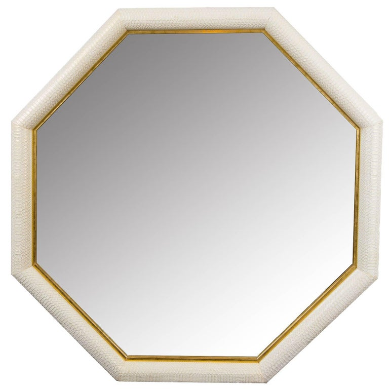 Contemporary Octagonal Embossed Python and Gold Leather Mirror by KLASP Home For Sale