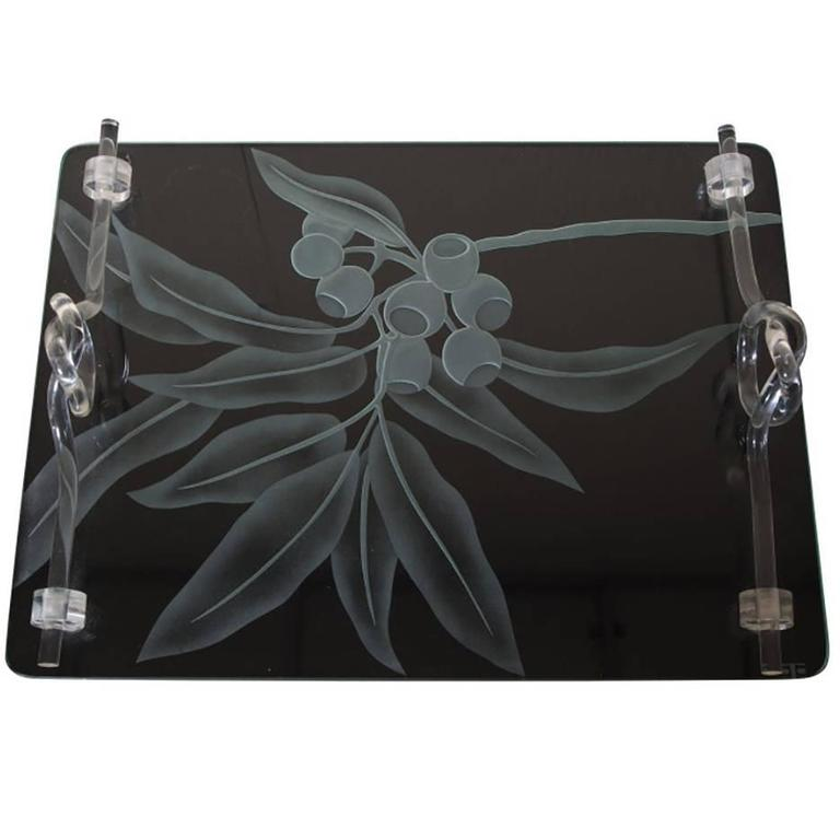 Dorothy Thorpe Glass and Lucite Tray, Signed