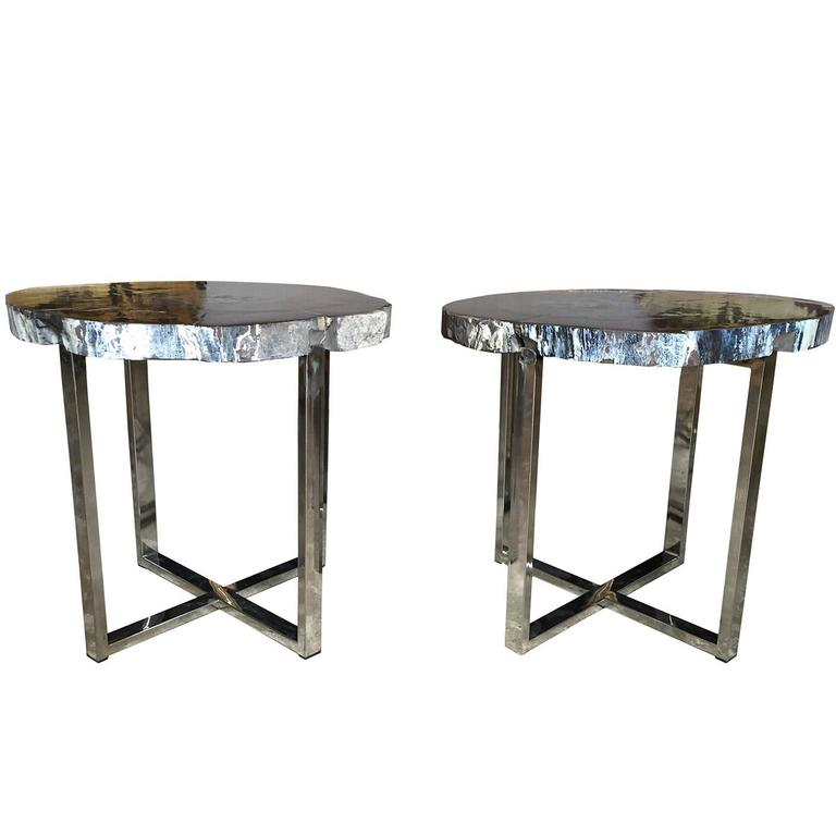 Pair of 20th century petrified wood occasional tables with - Tables basses metal ...