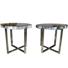 Pair of 20th Century Petrified Wood Occasional Tables with Metal Bases