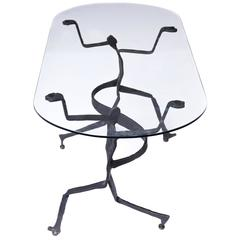 Brutalist Figural Blackened Steel and Glass Side Table