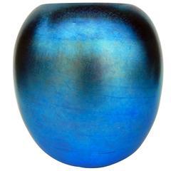 Iridized Durand Glass Vase, Blue Aurene