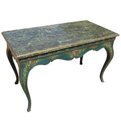 Blue Teal English Parlor or Console Table with Marble Top