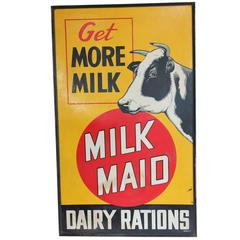 "Large 1947 Masonite Advertising Sign ""Milk Maid"""