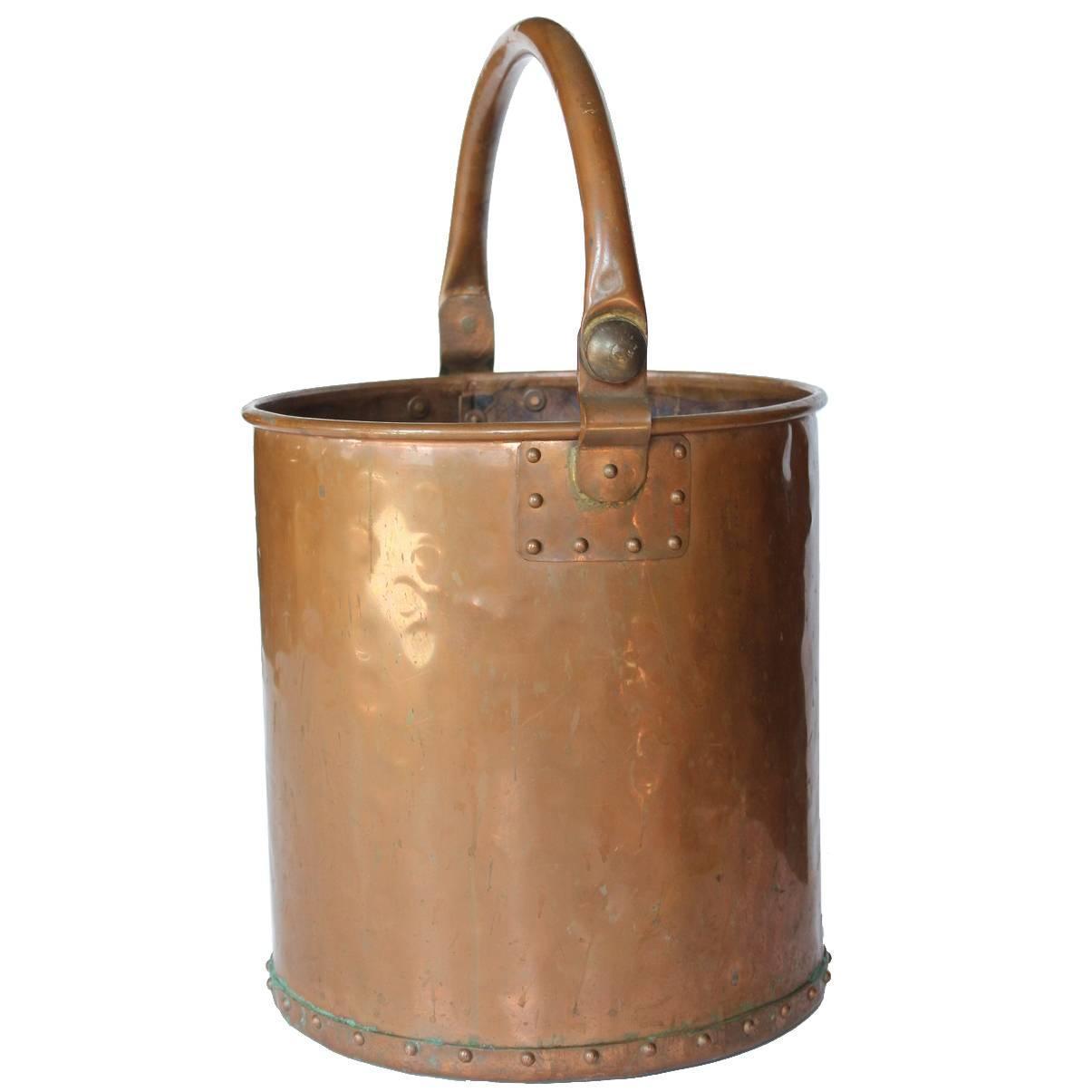 Antique hand hammered copper waste basket bucket at 1stdibs - Copper wastebasket ...