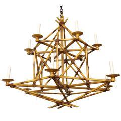 A Twelve-Light Faux Bamboo Chandelier