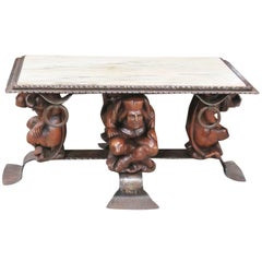 Figural Carved Court Jester Marble & Bronze Rectangular Coffee Table
