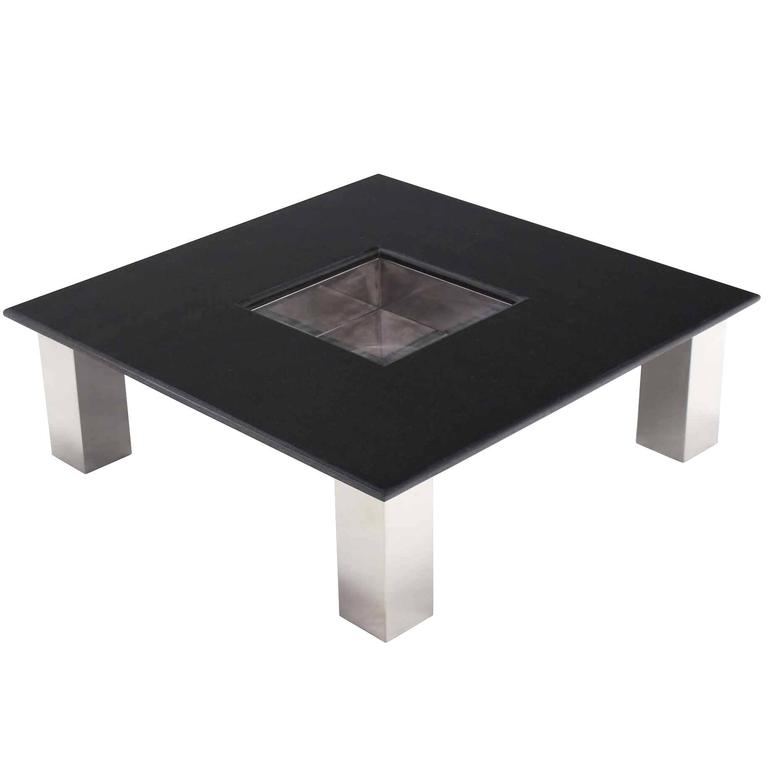 Glass And Metal Square Coffee Table In Black W 80cm: Large Square Granite Top Coffee Table With Center Planter