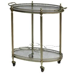 French Brass Bar Cart Drinks Trolley Tray, Mid-Century