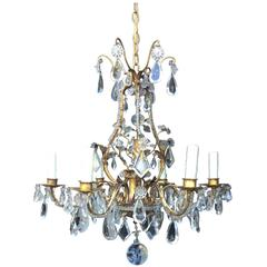 Early 20th Century Italian Crystal and Gilt Metal Chandelier