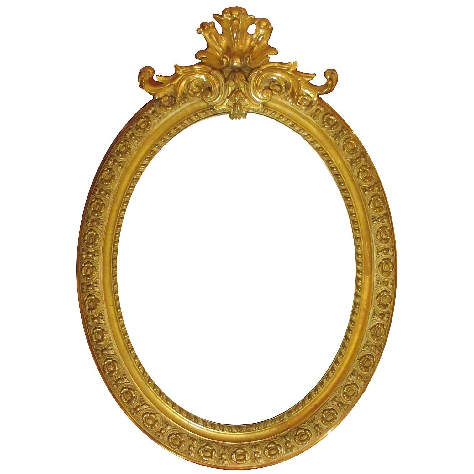 French 19th Century Louis XVI Style Giltwood and Gesso Carved Oval Mirror Frame
