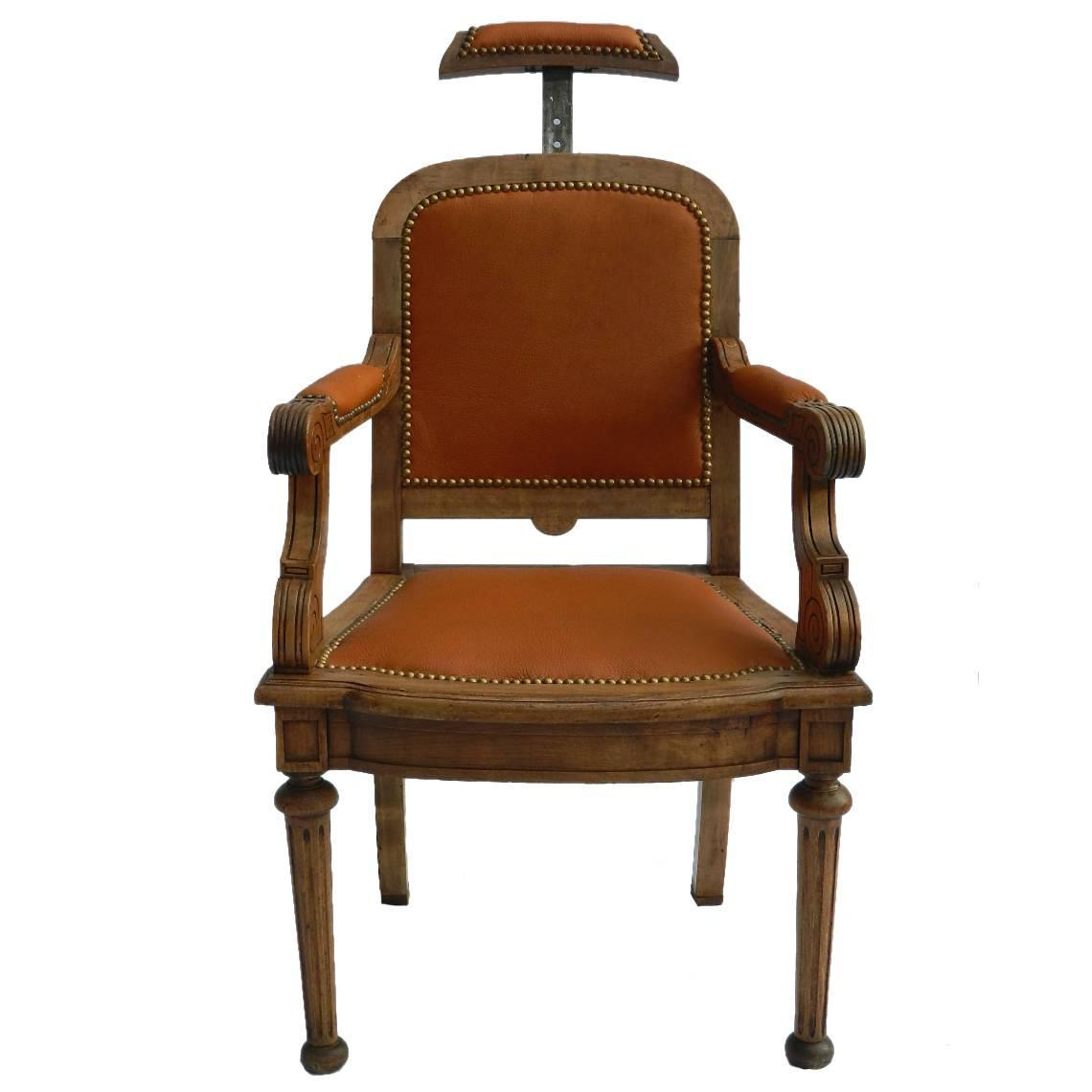 19th Century French Barbers Chair Leather Desk Reclining Armchair At 1stdibs
