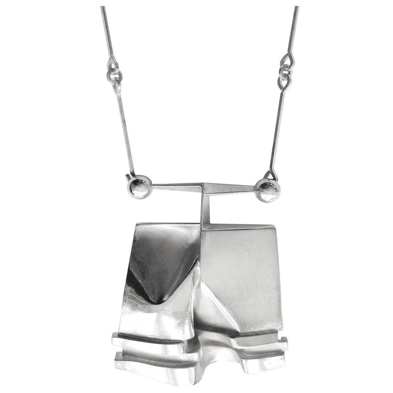 "Björn Weckström Sterling Silver Necklace ""O2X"" for Lapponia, 1974"