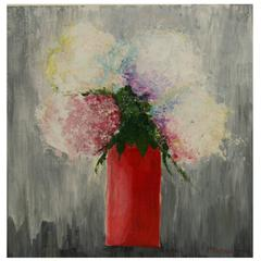 Impressionist Painting-Red Vase of Flowers