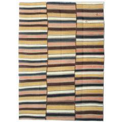 Antique Striped Persian Jajim Kilim Flat Weave