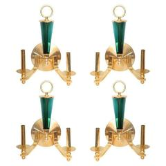 Set of Four Brass and Green Glass Wall Lights
