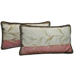 Pair of Antique French Aubusson Tapestry Pillows