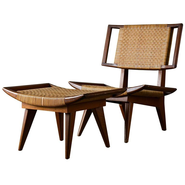 Pair of Paul Laszlo Lounge Chairs and Ottomans