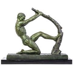 "John Roncourt Statue Art Deco ""Human Force"""
