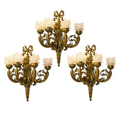 Antique Louis XVI Style Gilt Bronze Four-Arm Sconces, Set of Three