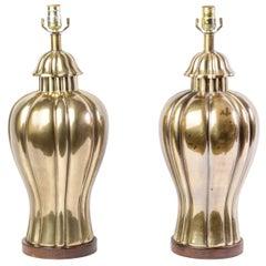 Elegant Pair of 1970s Vintage Frederick Cooper Brass Jar Lamps