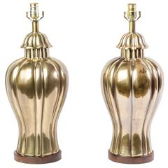 Elegant Pair of 1970s Vintage Frederick Cooper Brass Jar Lamps