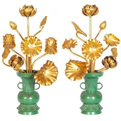 Antique Japanese Set of 18 Gilded Temple Flowers in Bronze Vases