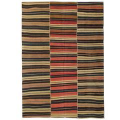 Antique Striped Kilim, Persian Jajim, Flat Weave