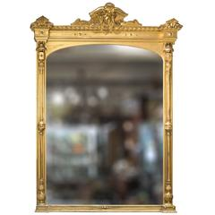 19th Century Magnificent Large-Scale Gilt Mantle Mirror