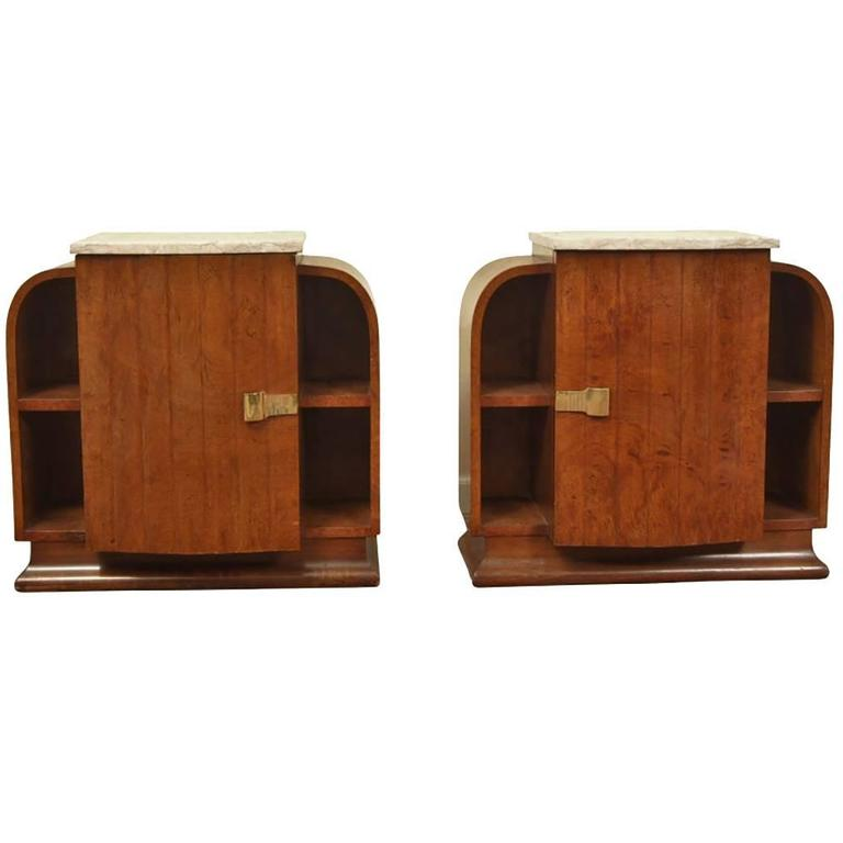 Fine Pair of French Art Deco Marble-Top Side Tables
