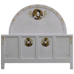 Art Deco French Bed Queen Painted Cameos by French Contemporary Artist
