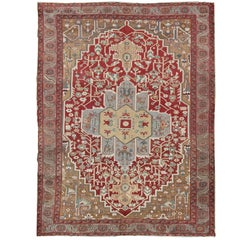 Antique Persian Bakhshaiesh Rug in Brick Red, Light Blue and Light Brown