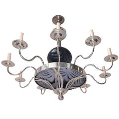 Silver Plated Chandelier Art Glass Elements