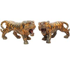 Sensational Pair of 19th Century Anglo-Indian Figure of Tigers