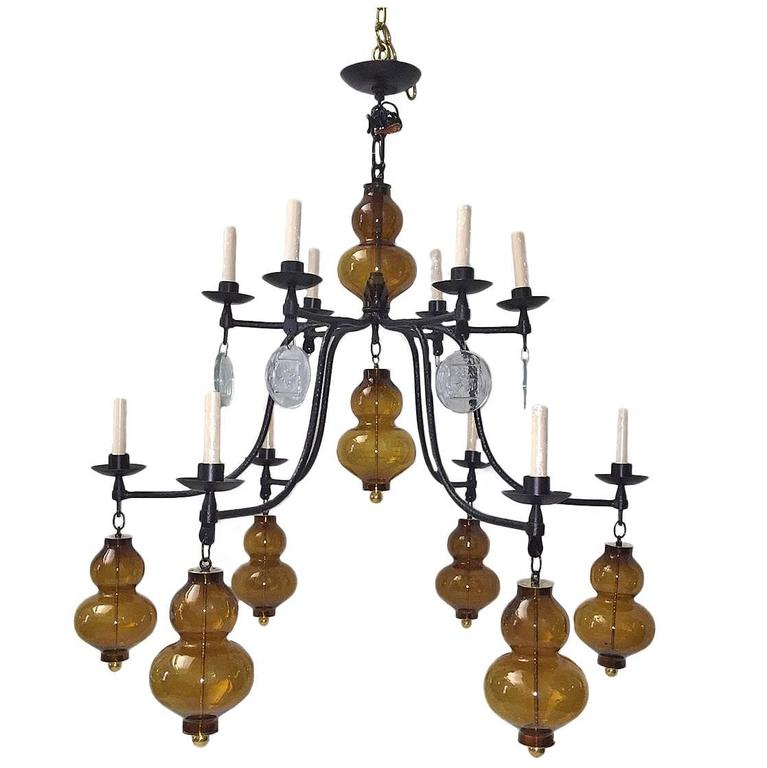 Large Wrought Iron Chandelier with Glass Elements 1