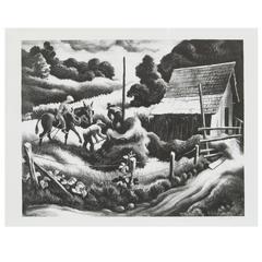 "Thomas Hart Benton Original Stone Lithograph, 1938 ""Haystack"""