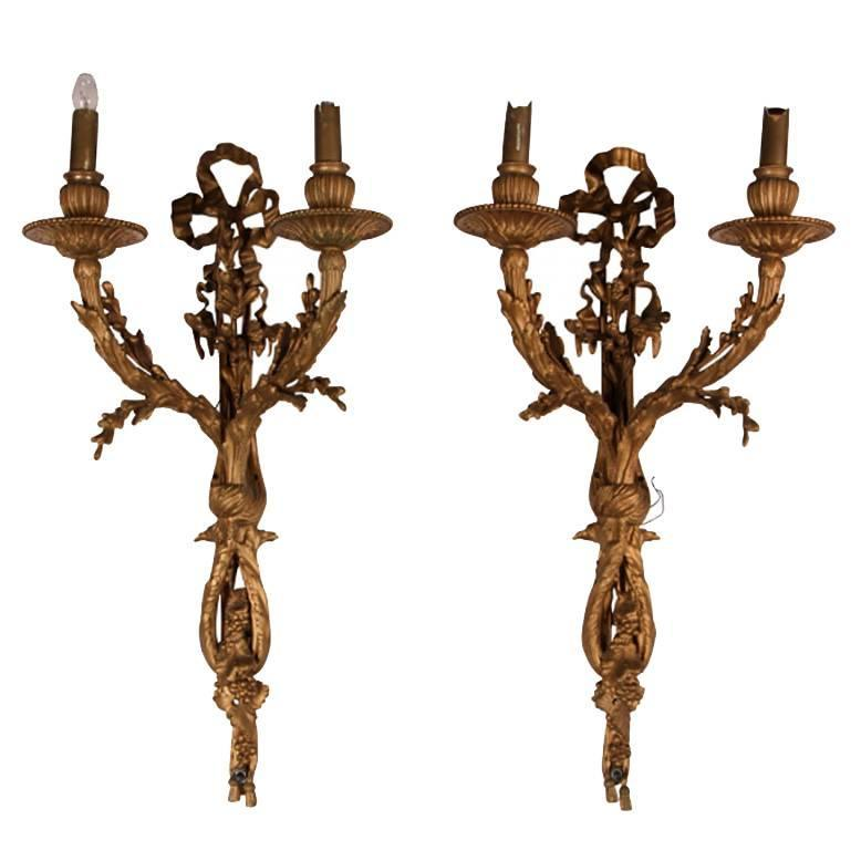Pair of Antique Bronze Foliate Wall Sconces For Sale at 1stdibs