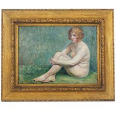 Art Deco Oil on Board, Female Nude, Maurice-Jean Lefebvre, Belgian